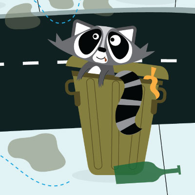 illustration of This is a children's game board consisting of a quirky looking racoon rummaging through trash cans to get across the board.