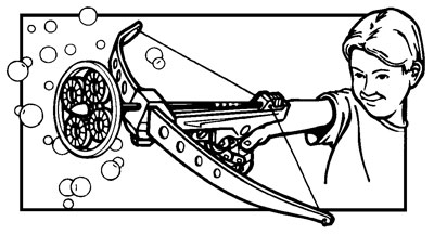 illustration of Bubble Cross Bow line art for Tootsietoy ad slicks and packaging
