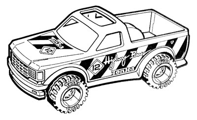 illustration of Line art illustration of a Tonka truck for ad slicks