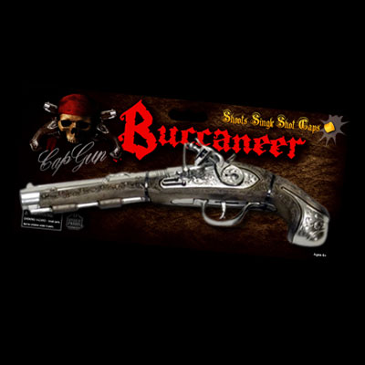 illustration of Product design, branding, and packaging for Buccaneer style toy cap gun