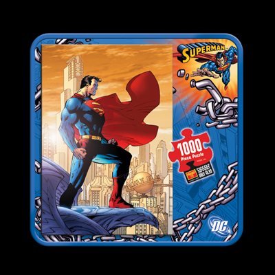 illustration of Tin box design and branding for full line of Superman puzzles