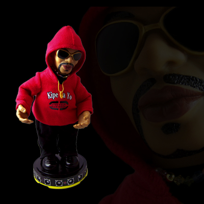illustration of Figure and toy design for JB Mpiana international rap star from Africa. Figure dances and plays his famous song Kipe Ya Yo.