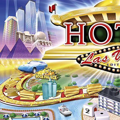 illustration of Design and illustration for the board game Hotel Las Vegas. Includes box and cover, gameboard, cards, money and all the 3d cut-out and assemble hotel models.