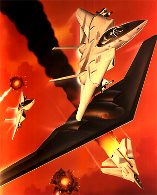 illustration of Capcom contacted me for this action aviationVideo Game cover : UN Squadron. B-1 Stealth Bombers engage enemy defenses accompanied by F-14 Tomcat fighters.