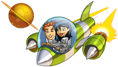 illustration of The KidFuel hero and heroine in space.