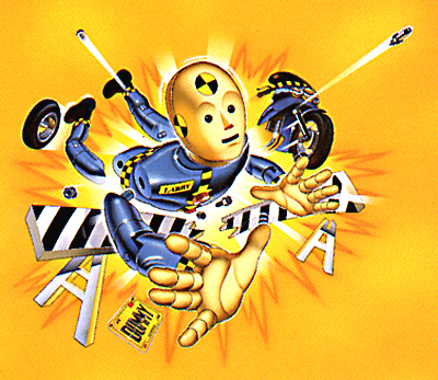 illustration of This is the lead Character for the Tyco Toys famous Crash Test Dummies line of toys, as seen in the art for his blister pack. This entire line of packaging was executed by Howard Temner Design in Manhattan.
