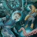 illustration of Illustration depicting a family in an underwater environment.
