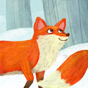 illustration of Foxes walking through a snowy wood with a bluebird.