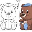 illustration of Small plush teddy bears for use as birthday cake toppers.