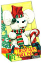 illustration of Plush Christmas Mouse conceptual illustration of product and packaging