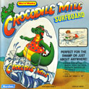 illustration of Crocodile Mile inflatable surf board illustration for ad layout and packaging