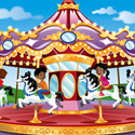 illustration of Carousel theme park ride for Scholastic, Inc. One of 9 scenes for a teacher's aide/classroom activity game.