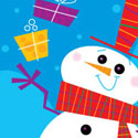 illustration of snowman, christmas, winter, presents, gifts, ice, rink, ice skates, cold, snow, snowflakes, greeting card