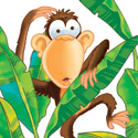 illustration of Chimpanzee in a banana tree. This was part of a Bananagram puzzle book. Chimp appears on the cover and interior of the book.