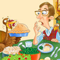 illustration of An illustration for a children's magazine. Find the 10 turkeys in the art. The turkeys join the feast rather than be the main course.