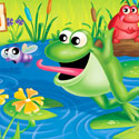 illustration of Froggies is a board game for young children. Frogs are matched by color. I designed and illustrated the lid art and logo as well as the game components.