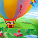 illustration of A magazine illustration of two kids in a hot air balloon fly over the country side of farms and fields in a bucolic scenic scene.