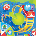 illustration of Illustration for a game board for a Roller coaster game. Marbles tents circus amusement park setting below the soaring roller coaster tracks.