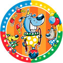 illustration of Part of a juvenile birthday ensemble. Clown dogs.