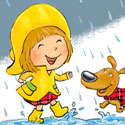 illustration of A digital pastel illustration of an early elementary aged girl splashing in puddles with her dog on a rainy day.