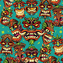 illustration of Angry Tiki head illustration I created for use in a beach resort themed repeatable pattern to be used in Photoshop for apparel.