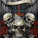 animation of Apparel design I illustrated for the Gothic apparel brand Spiral Direct with plenty of skulls, roses, and a sweet heavy metal axe guitar.